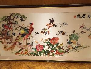 【百鸟朝凤】大型刺绣画,100x190cm