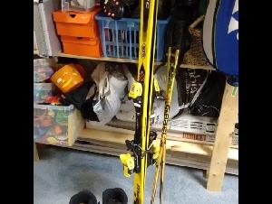 Nordica downhill ski set, shoe, ski and poles